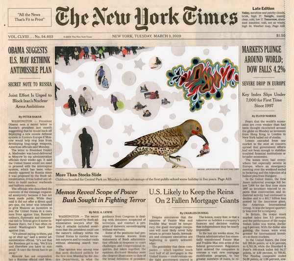 "Fred Tomaselli, Mar. 3, 2009, 2013, collage, gouache, marker, and archival inkjet print on watercolor paper, 10 3/4 x 12 1/8"" © 2014 FRED TOMASELLI."