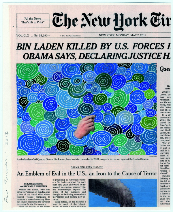 Fred Tomaselli, May 2, 2011, 2012, gouache and archival inkjet print on watercolor paper, 11 x 83/8 in.  © 2014 FRED TOMASELLI.