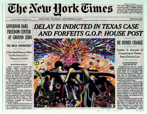 "Fred Tomaselli, Sep. 29, 2005, 2009, gouache, collage, and archival inkjet print on watercolor paper, 8 1/4 x 10 3/4"" ©2014 FRED TOMASELLI."