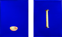 Sarah Charlesworth, Bowl and Column, 1986,  Cibachrome with lacquered wood frame, two panels. COURTESY MACCARONE.
