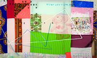 Tameka Norris, How to Write a Cursive X, 2014, acrylic and oil on fabric. COURTESY LOMBARD FREID.