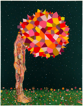 Head, 2013, by Fred Tomaselli, a contemporary admirer of Kahlo's paintings. ERMA ESTWICK/©FRED TOMASELLI/COURTESY JAMES COHAN GALLERY, NEW YORK AND SHANGHAI