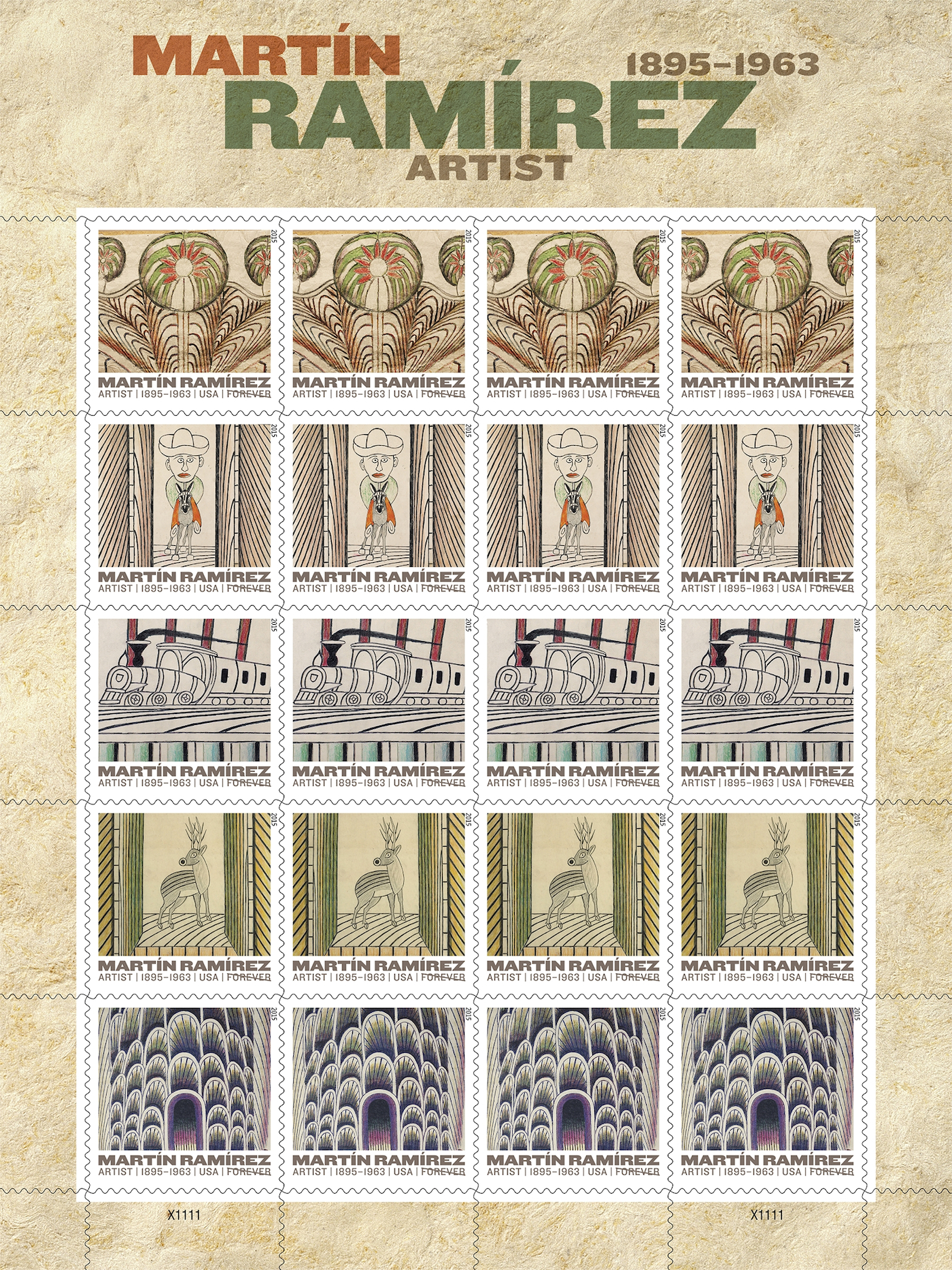 image about Printable Postage Stamps identify The Postal Support Is Printing Martín Ramírez Stamps -ARTnews