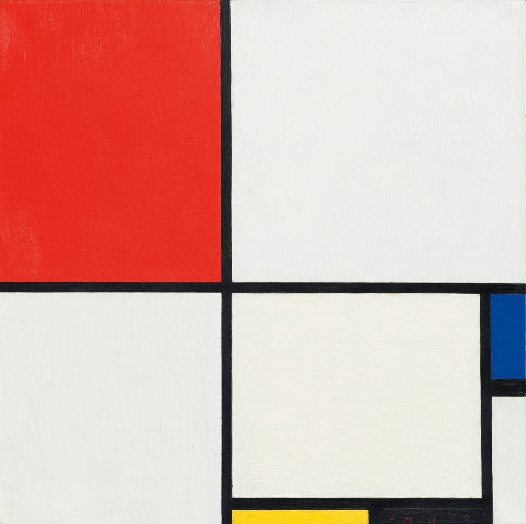 mondrian position no iii position with red blue yellow and black