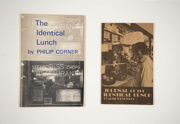 Covers for Philip Corner's The Identical Lunch and Alison Knowles' Journal of the Identical Lunch. COURTESY JAMES FUENTES GALLERY.