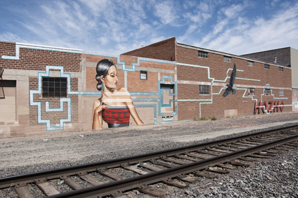 Nani Chacon, She Taught Us To Weave, part of the Wells Park Rail Corridor Mural Project in Albuquerque, 2013. DEMIAN DINE'YAZHI