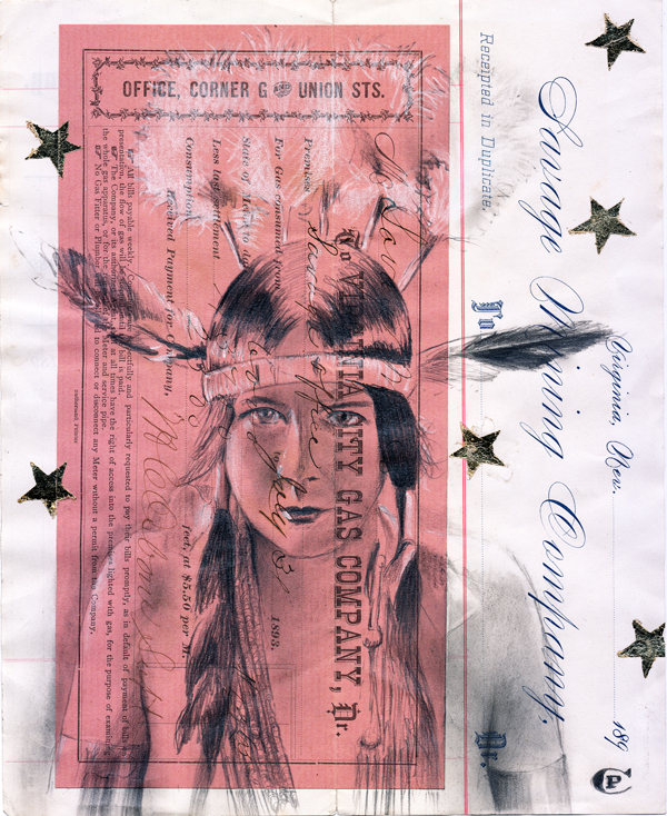 Chris Pappan's primary influence is Ledger Art, a term that comes from the accounting ledger books that were a common source of paper for Plains Indians in the the 19th-century. La Sauvage, pencil/graphite, gold leaf on mining certificate. COURTESY THE ARTIST.