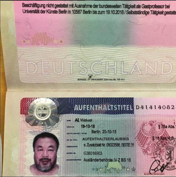 Ai Weiweis German Visa Via Instagram