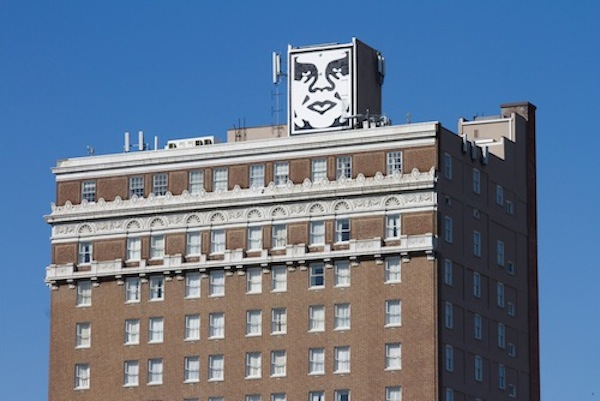 "Fairey installed an image of his ""OBEY"" icon on the roof of Charleston's Francis Marion Hotel.PHOTO: JONATHON STOUT. ©BADJON PHOTOGRAPHY 2013."