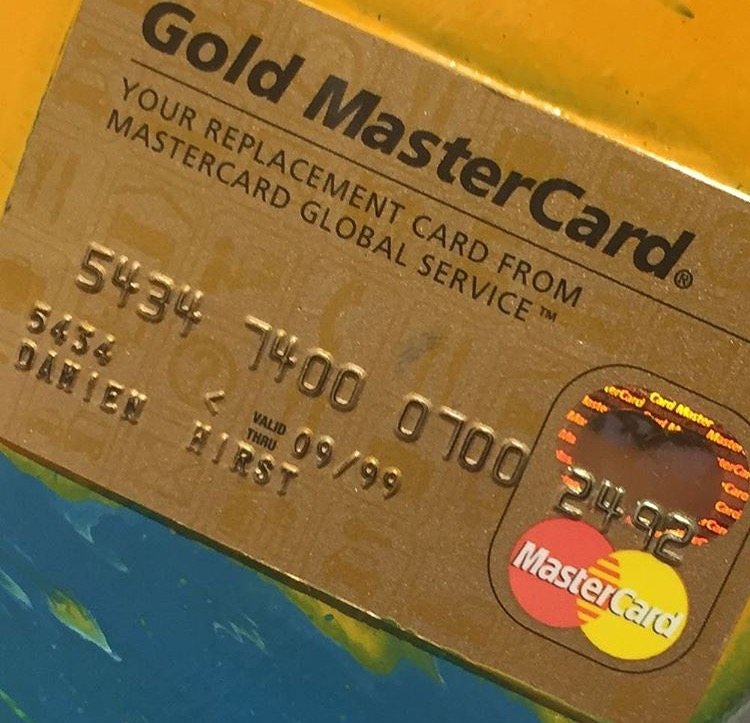 Damien Hirst's credit card in a Damien Hirst work.ARTNEWS