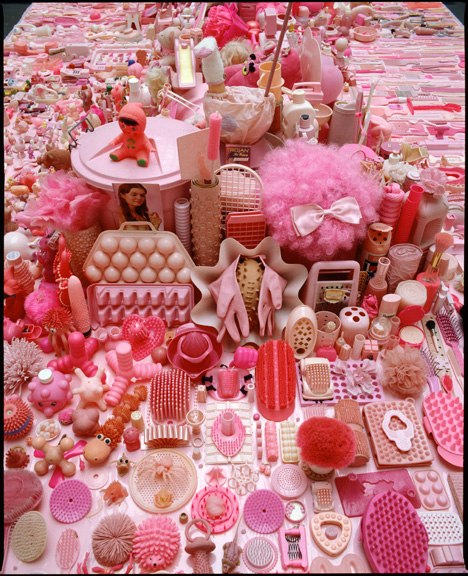 Portia Munson, Pink Project: Table, 2010, found plastic.