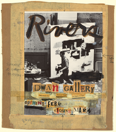 Larry Rivers, Maquette for Larry Rivers Exhibition at Dwan Gallery, 1961, collage of cutout text, paint, and tape on gelatin silver photograph, 14⅛ × 12¼ inches. TRICIA ZIGMUND/©ESTATE OF LARRY RIVERS, LICENSED BY VAGA, NEW YORK/COLLECTION OF VIRGINIA DWAN