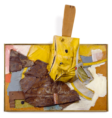 Robert Rauschenberg, Wooden Gallop, 1962, oil, wood, paper, metal, fragment of yellow rubber life raft, and cola can on plywood, 49 x 49½ x 10¾ inches. ©ROBERT RAUSCHENBERG FOUNDATION/CHRYSLER MUSEUM OF ART, NORFOLK, VIRGINIA