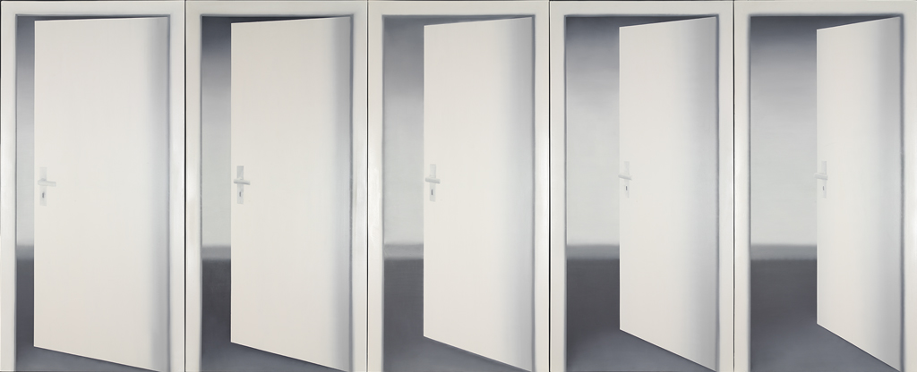 Gerhard Richter Five Doors 1967 oil on canvas 92½ x 216½ inches & Reflected Illusions: Gerhard Richter Is Still the Alpha Male of ...