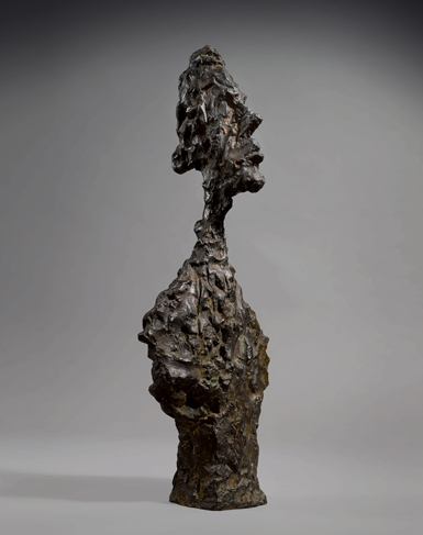 Alberto Giacometti's Buste de Diego (ca. 1957, cast 1957–58) had a pre-sale estimate of $10 million – $15 million, and sold for $10.9 million. COURTESY SOTHEBY'S