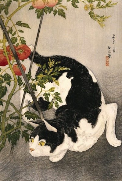 Takahashi Hiroaki (Shotei), Published by Fusui Gabo, Cat Prowling Around a Staked Tomato Plant, 1931, woodblock print, 20 7/8 x 13 7/8 in. THE MUSEUM OF FINE ARTS HOUSTON/GIFT OF STEPHANIE HAMILTON IN MEMORY OF LESLIE A. HAMILTON.
