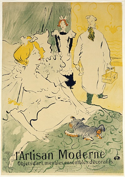 "Henri de Toulouse-Lautrec, Poster for ""L'Artisan moderne,"" 1896, crayon brush and spatter lithograph with scraper, printed in four colors. BLANTON MUSEUM OF ART, GIFT OF JOHN S. AND PATRICIA A. CORCORAN, 2000."