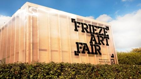 Outdoor sign, reading 'Frieze Art Fair,'