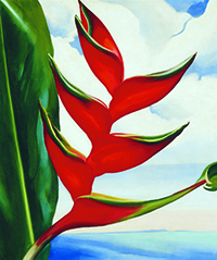 Georgia O'Keeffe, Heliconia—Crab Claw, 1939, oil on canvas. COURTESY ©GEORGIA O'KEEFFE MUSEUM/COLLECTION OF SHARON AND THURSTON TWIGG-SMITH
