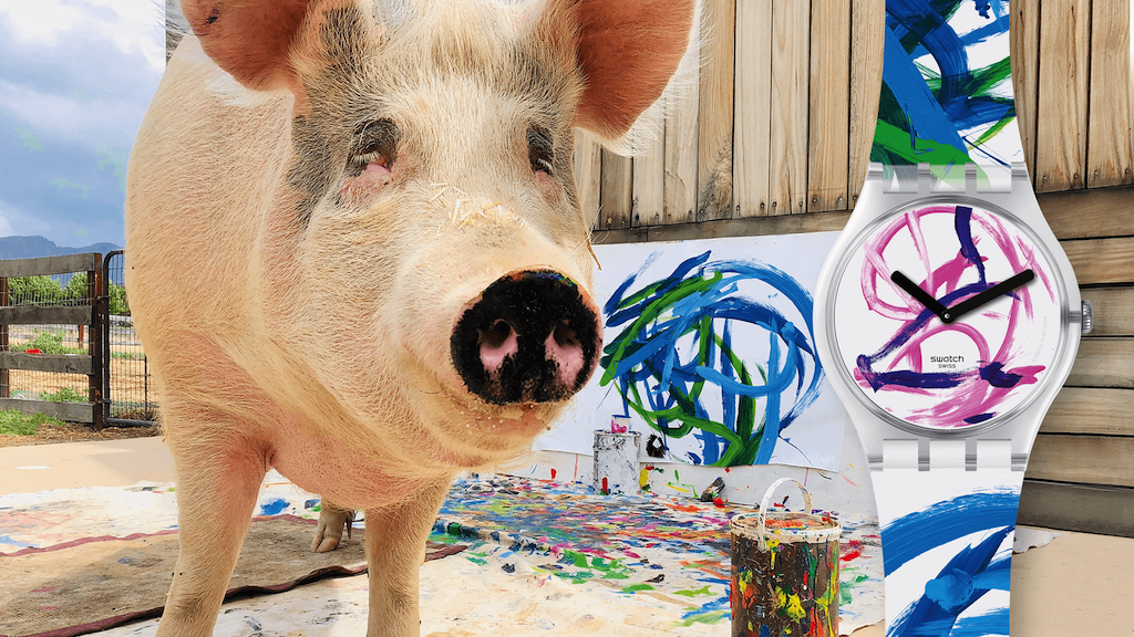 Swatch Collaborates With Porcine Painter Pigcasso for New Art Special Watch