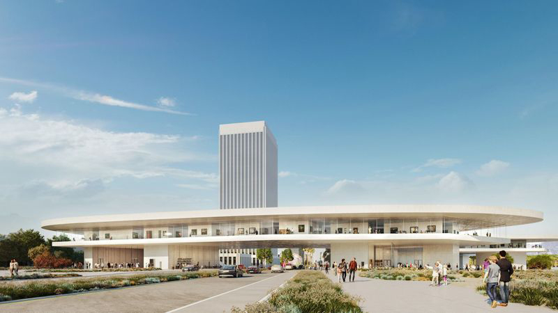 The latest version of Peter Zumthor's design for LACMA's proposed new building will span Wilshire Boulevard.