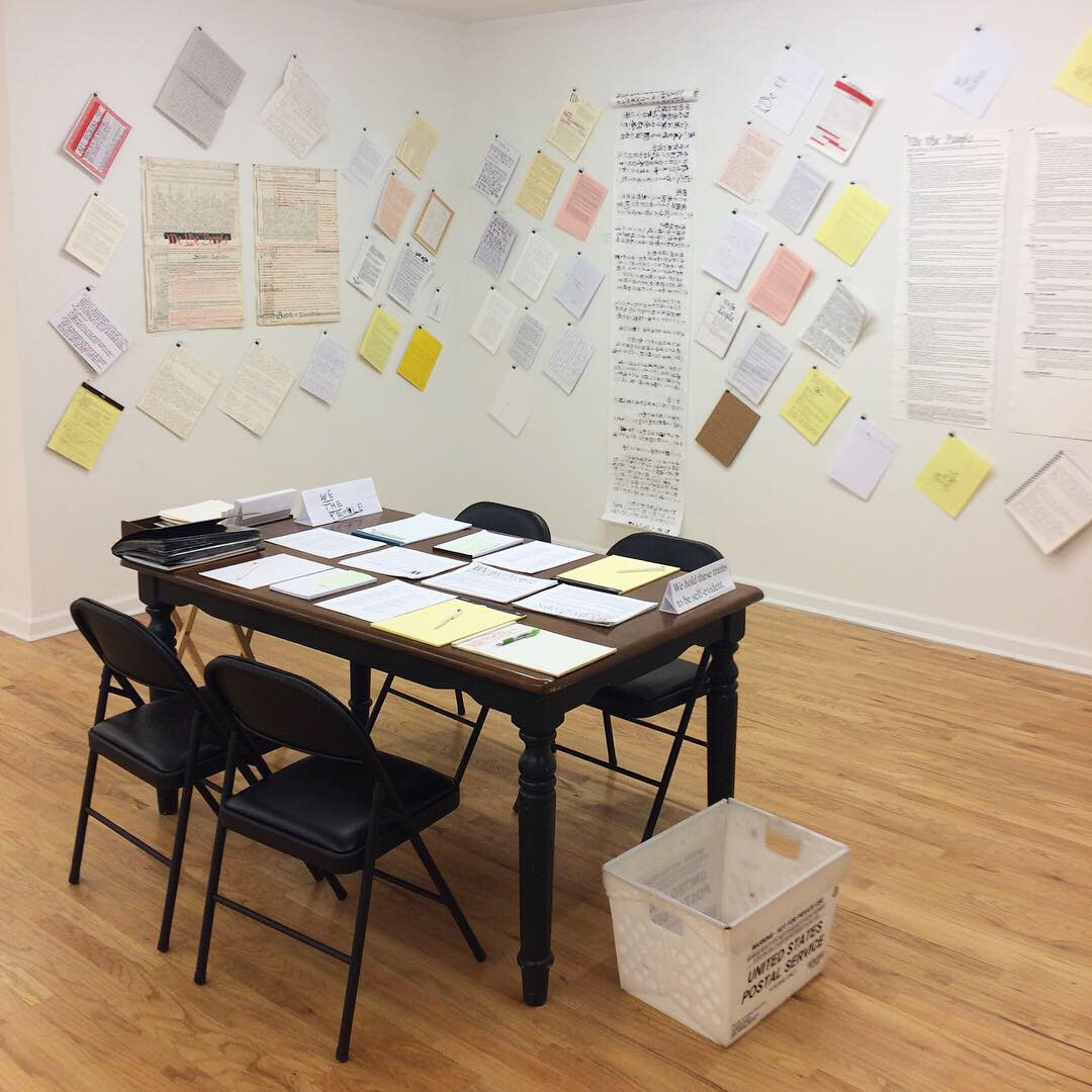 You Can Transcribe and Send the U.S. Constitution to White House, in Morgan O'Hara's Show at Mitchell Algus in New York