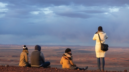 Students at James Turrell's Roden Crater