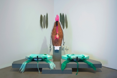 """Installation view of """"Patricia Domínguez: Green Irises,"""" 2019, at Gasworks, London"""