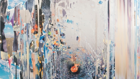 Sarah Sze, Hindsight, 2019, oil paint,