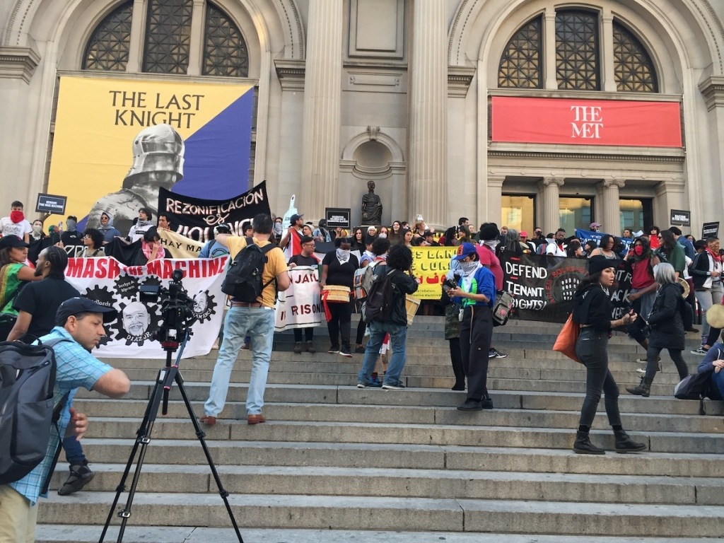 Hundreds Ascend Metropolitan Museum of Art Stairs for Indigenous Peoples' Day Protest -