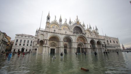 St. Mark square flooded in Venice.