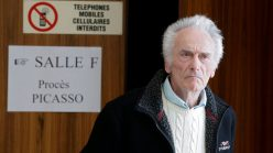 Picasso's electrician leaving a French court. He now faces a suspended two-year jail sentence.