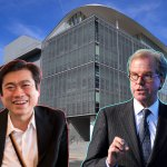 MIT's Media Lab building in the background with photos of Joi Ito on the left and Nicholas Negroponte on the right