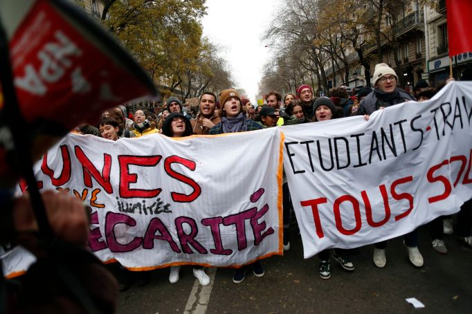 Protesters march through Paris on Thursday