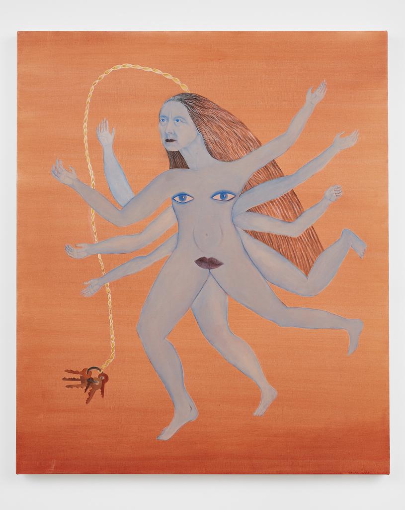 Cecilia Vicuña, 'Llaverito (Blue),' 2019, oil