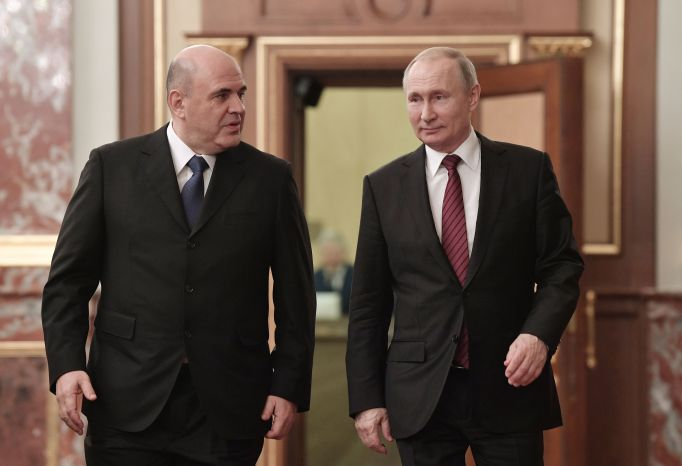 Mikhail Mishustin (at left), Russia's Prime