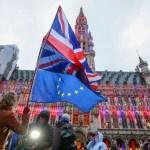 A woman holds a European flag