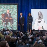 The Obamas at the unveiling of their portraits in 2018.