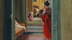 Félix Valloton, Interior with Woman in Red Seen from Behind, 1903.