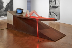 """View of Valie Export's Geburtenbet, 1980, in the exhibition """"The 1980 Venice Biennale Works,"""" 2019, at Thaddaeus Ropac."""
