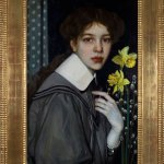 Oskar Zwintscher, 'Portrait with Yellow Daffodils', 1907, gift of the Collection F.W. Neess.