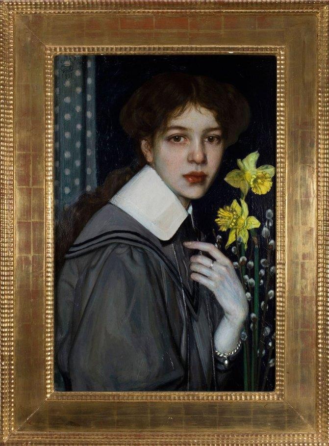 Oskar Zwintscher, 'Portrait with Yellow Daffodils',