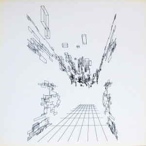 "Hall (Corridor) lithograph from Nees's series ""Computergrafik Computerplastik,"" 1970."