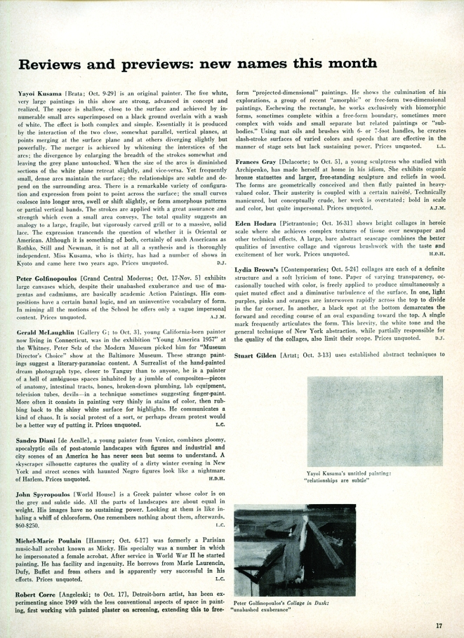 A page from ARTnews's October 1959