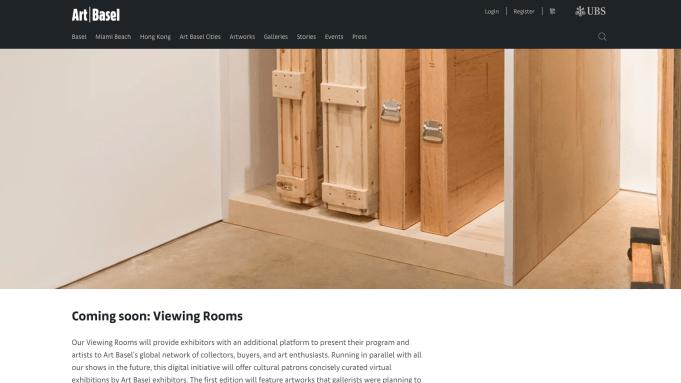 The website for Art Basel's online