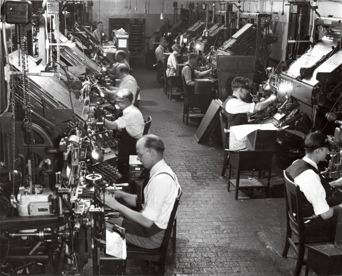 Typesetters at work at the Milwaukee