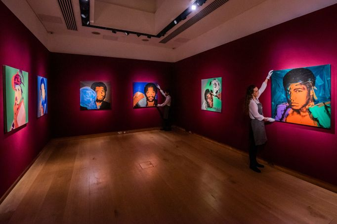 Works by Andy Warhol in a