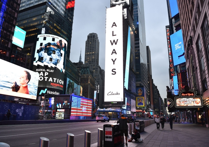 An unusually empty Times Square in