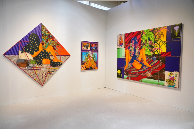 Installation view of three paintings by Amir H. Fallah on view in the Focus section in the booth of New York's Denny Dimin Gallery.