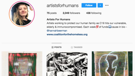 Artists for Humans's Instagram page featuring